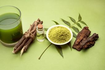 Medicinal Ayurvedic Azadirachta indica or Neem leaves in mortar and pestle