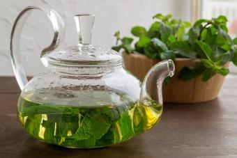 detox herbal peppermint tea steeping in teapot