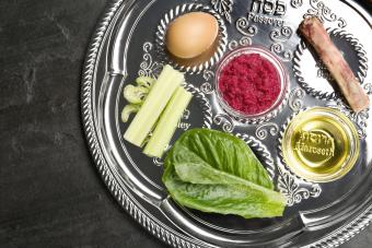 Passover Seder plate on black table
