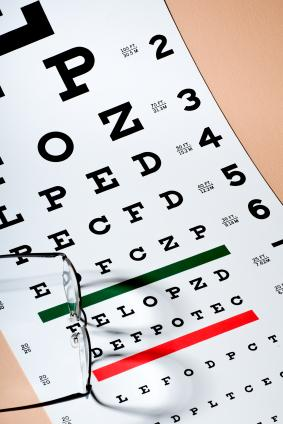 Pair of glasses atop an eye-exam chart