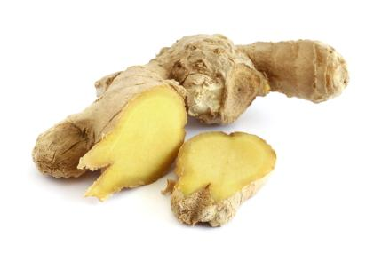 Piece if ginger root sliced open
