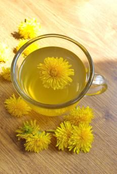 A glass of dandelion tea