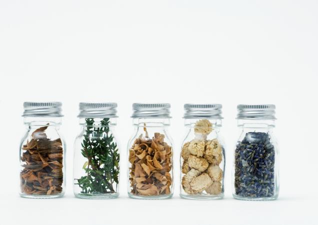 Bottles of dried herbs