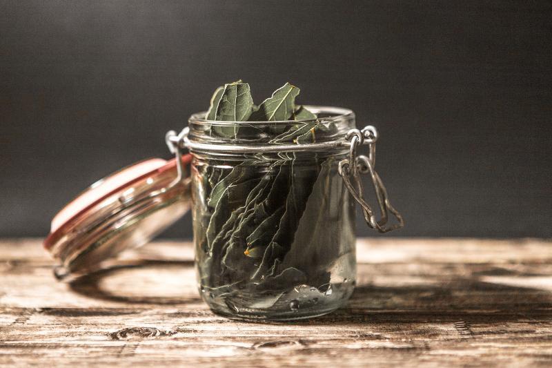 Bay leaves on a glass jar