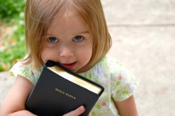 Toddler Girl with Bible