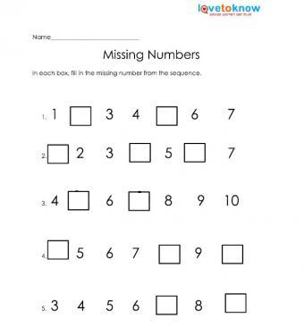 missing numbers free kindergarten worksheet