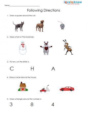 following directions free kindergarten worksheet