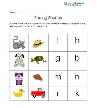 ending sounds free kindergarten worksheet