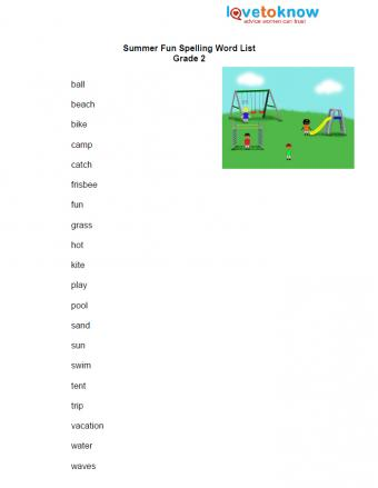 free spelling worksheet for second grade summer words