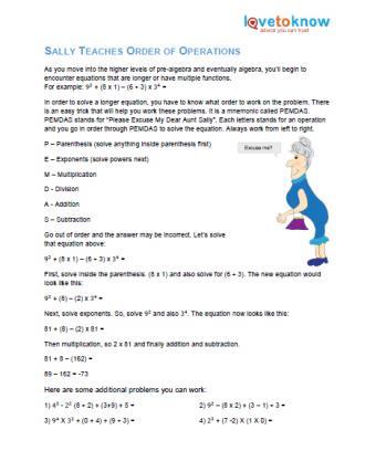 printable for pre-algebra order of operations