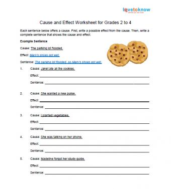 cause and effect worksheet 2nd to 4th grade