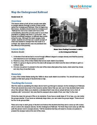 underground railroad lesson plan