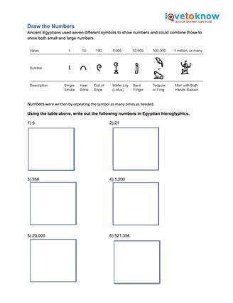 Heiroglyphic Numbers Worksheet