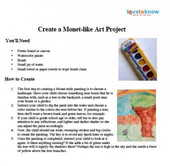 Claude Monet Lesson for Kids