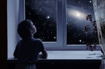 boy gazing at star