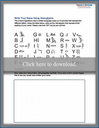 Hieroglyphs name writing worksheet