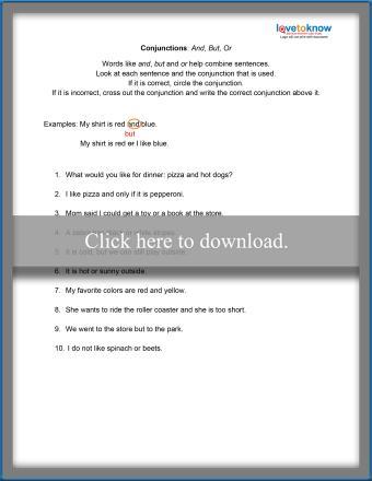 Basic Conjunctions Worksheet
