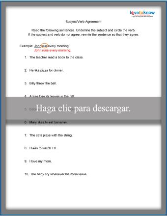 Subject/Verb Agreement Worksheet