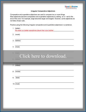 Irregular Comparative Adjectives Worksheet