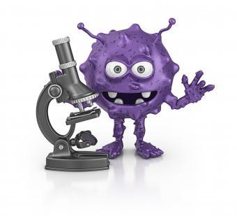 Purple bacteria and microscope
