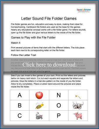 Letter Sound File Folder Game