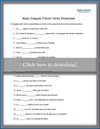 Irregular French Verb Worksheet