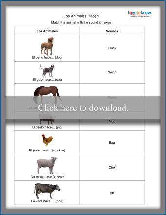Spanish Animals Worksheet