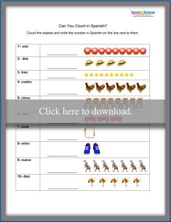 Spanish Counting Worksheet