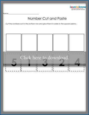 1 to 5 Number Order Cut & Paste