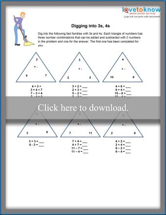 3 and 4 Fact Families Worksheet