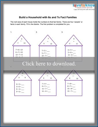 6 and 7 Fact Families Worksheet