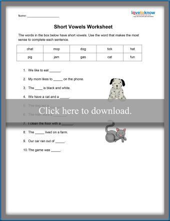 Short Vowels Worksheet