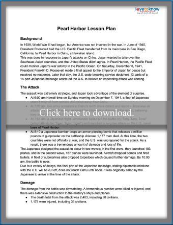 Pearl Harbor Lesson Plan