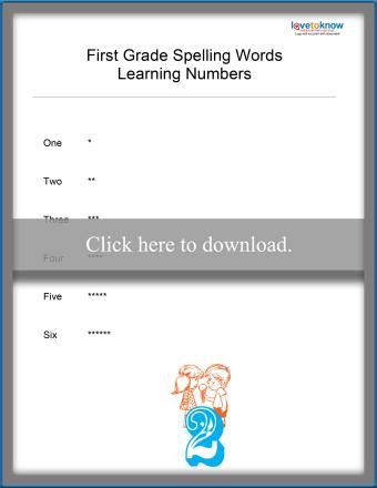 Spelling Numbers List