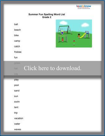 Second Grade Spelling List