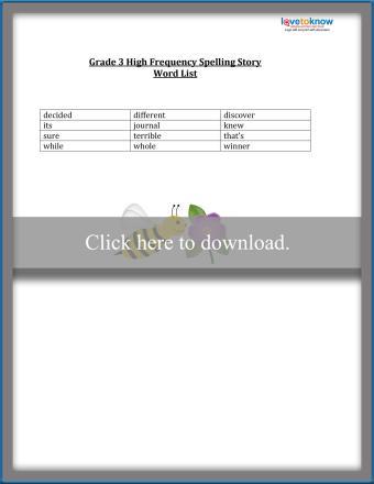 Third Grade Spelling List