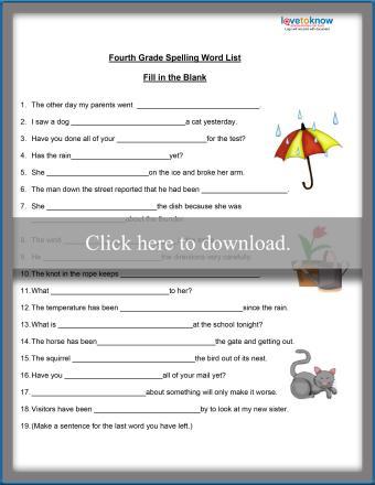 Fourth Grade Spelling Activity