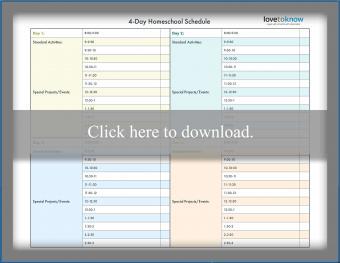4-Day Homeschool Schedule Template