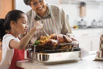 Granddaughter helping grandmother baste turkey