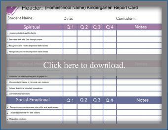 Faith Based Curriculum Report Card for Kindergarten