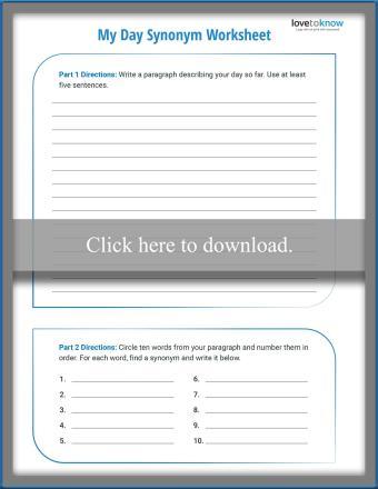 Fifth Grade Synonym Worksheet