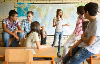 Students talking in classroom