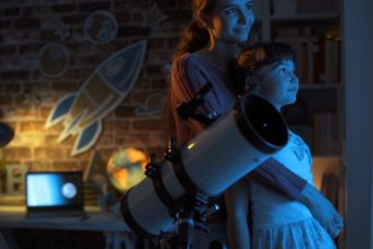 Watching stars together at night using a telescope