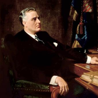 Restored vintage American history painting of President Franklin Roosevelt seated at a desk