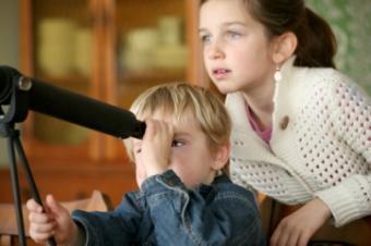 children, telescope, homeschool