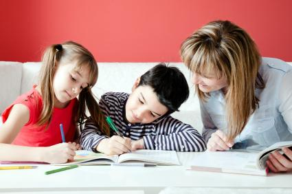 mom and kids homeschooling