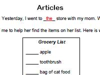articles grammar worksheet