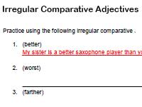 irregular comparative adjectives worksheet