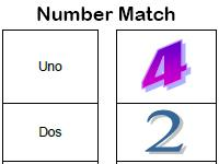 number match Spanish worksheet