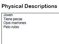 physical descriptions worksheet
